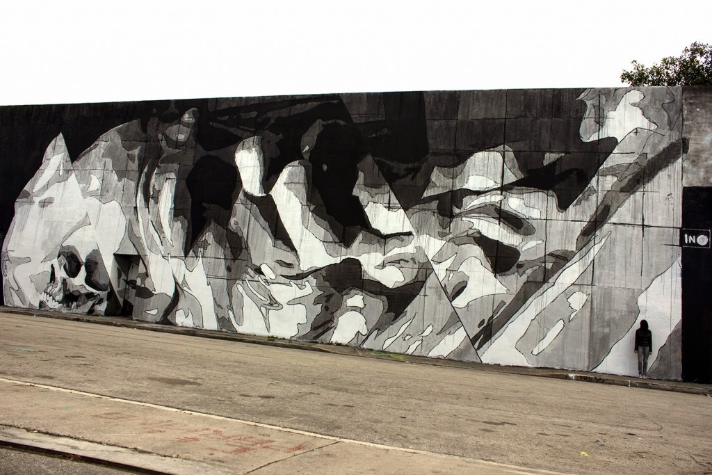 """Art Basel '14: iNO paints """"Injustice"""", a new mural in Miami, USA"""