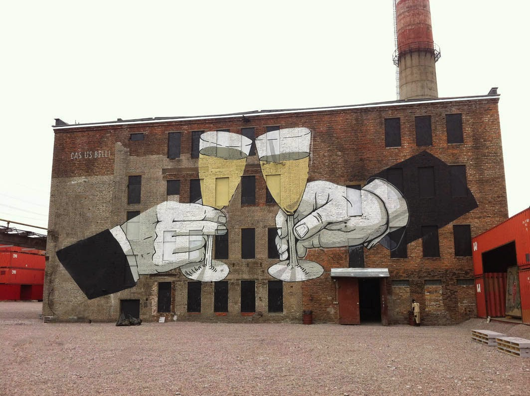 "Escif paints ""Casus Belli"" on the streets of Saint-Petersburg, Russia"