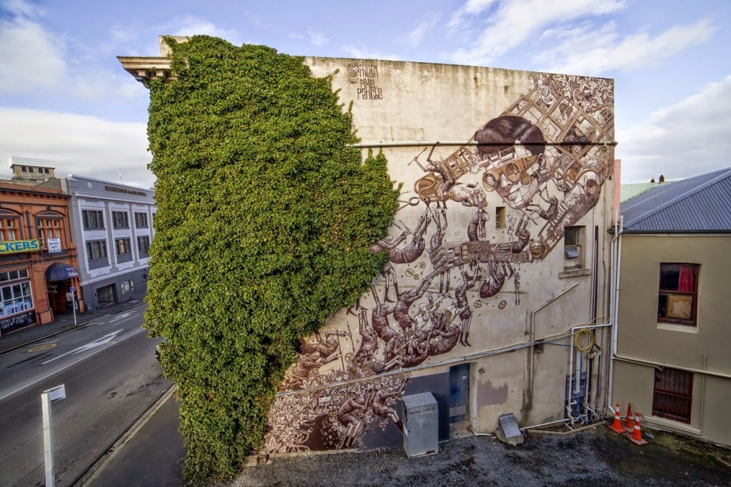 Phlegm and Pixel Pancho team up to paint a new mural in Dunedin, New Zealand