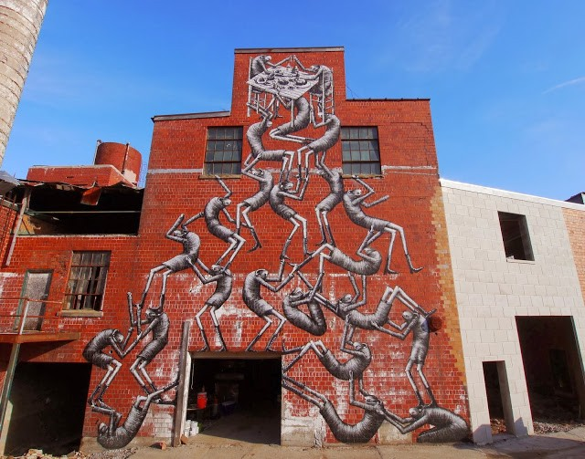 Phlegm New Street Art Mural For PRHBTN – Lexington, USA