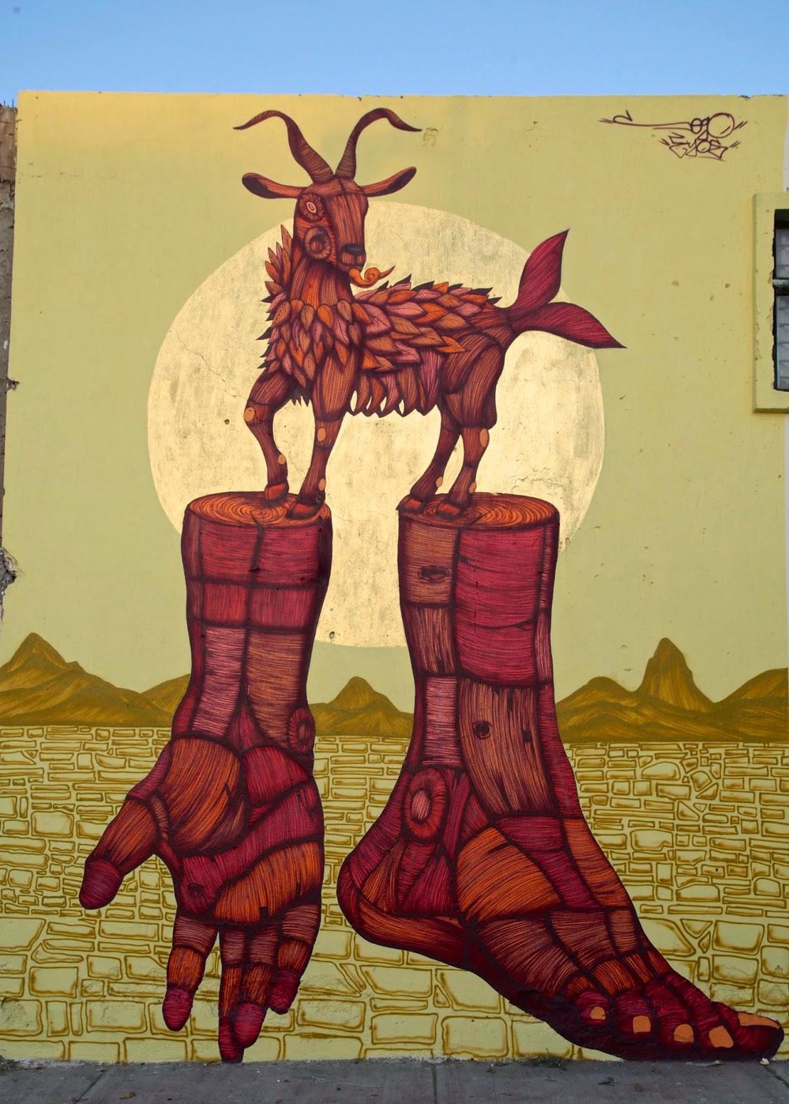 sego el presagio de la cabra loca new mural tonal mexico streetartnews streetartnews. Black Bedroom Furniture Sets. Home Design Ideas