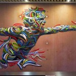 Shaka paints a new indoor piece in Evry, France