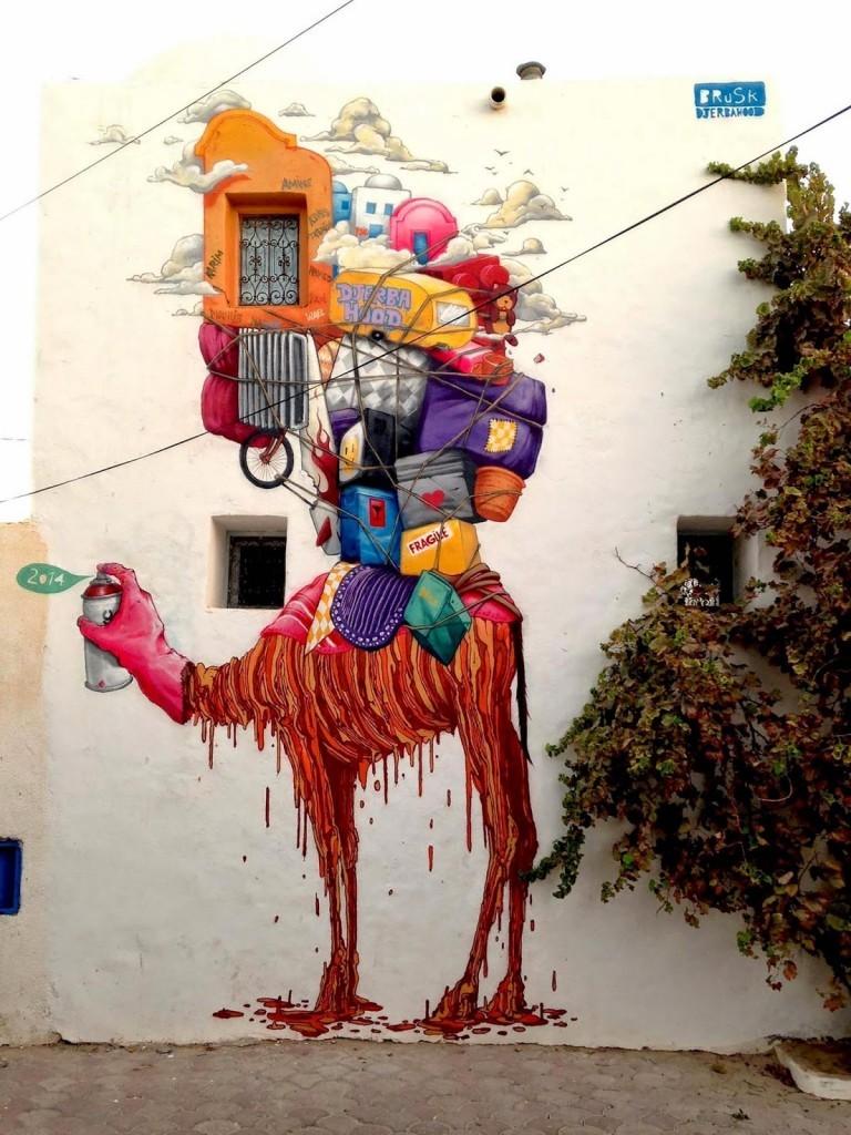"""Brusk """"Camelhood"""" New Mural – Djerba, Tunisia"""