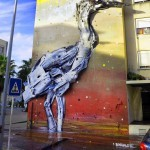 "Bordalo II creates ""Grey Heron"", his new street installation in Loures, Portugal"