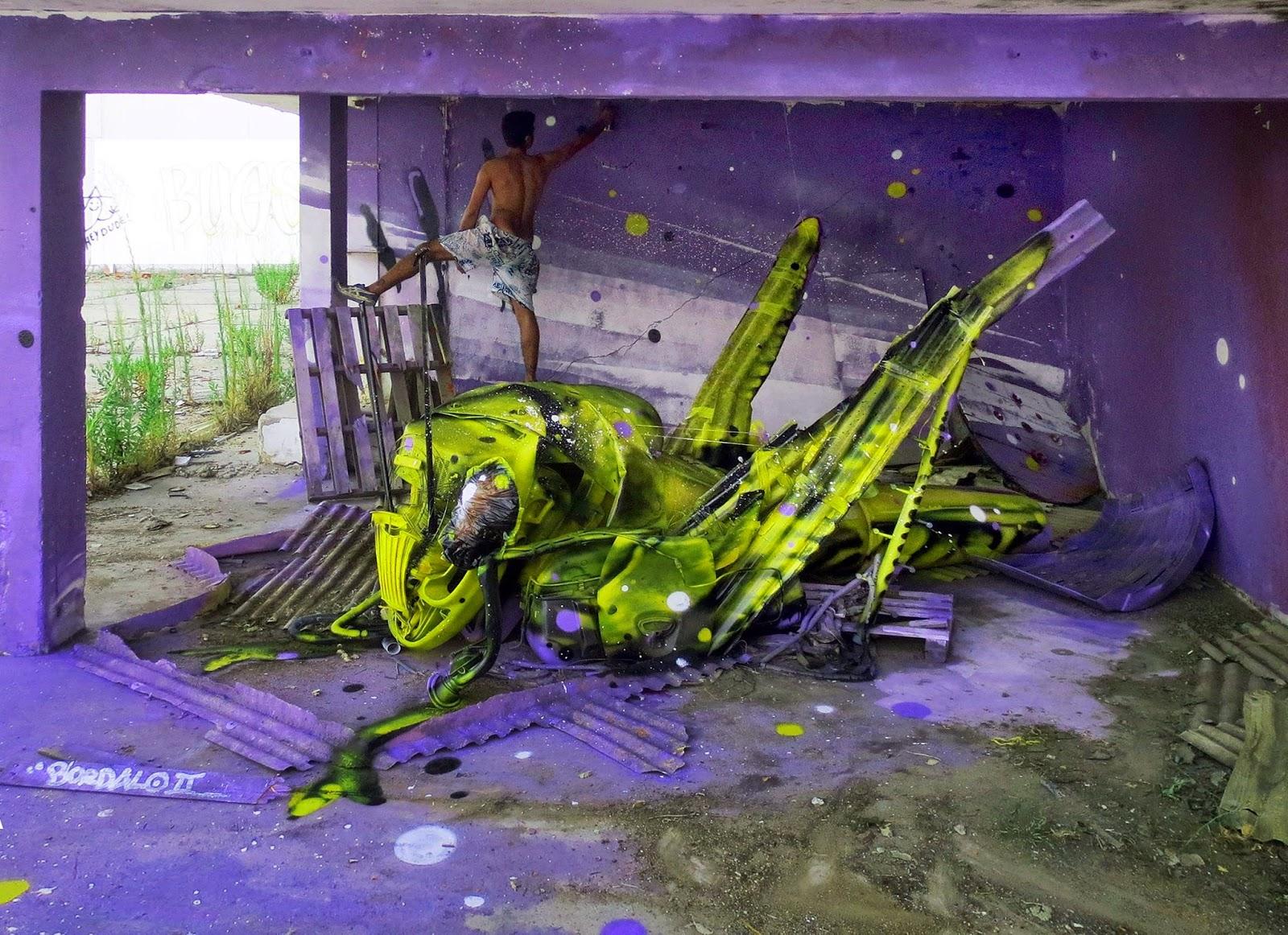 "Bordalo II ""Space Grasshopper"" New Installation - Lisbon, Portugal"