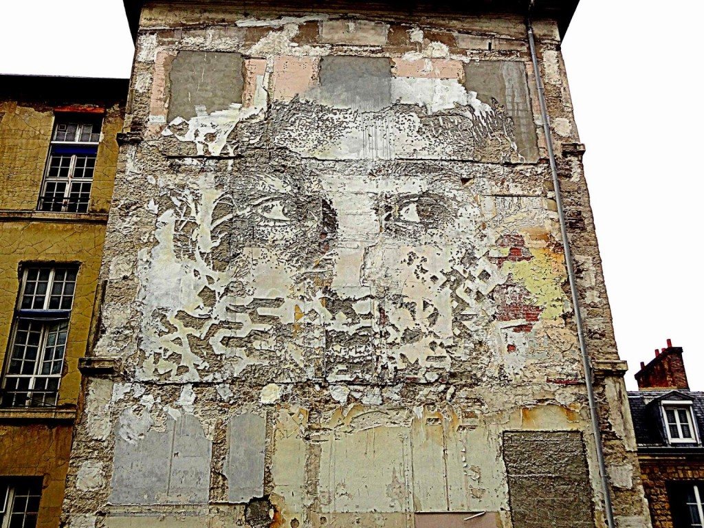 Vhils creates a series of new pieces in Paris, France