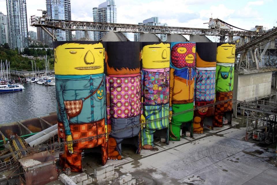 Os Gemeos Paints Six Enormous Silos – Vancouver, Canada