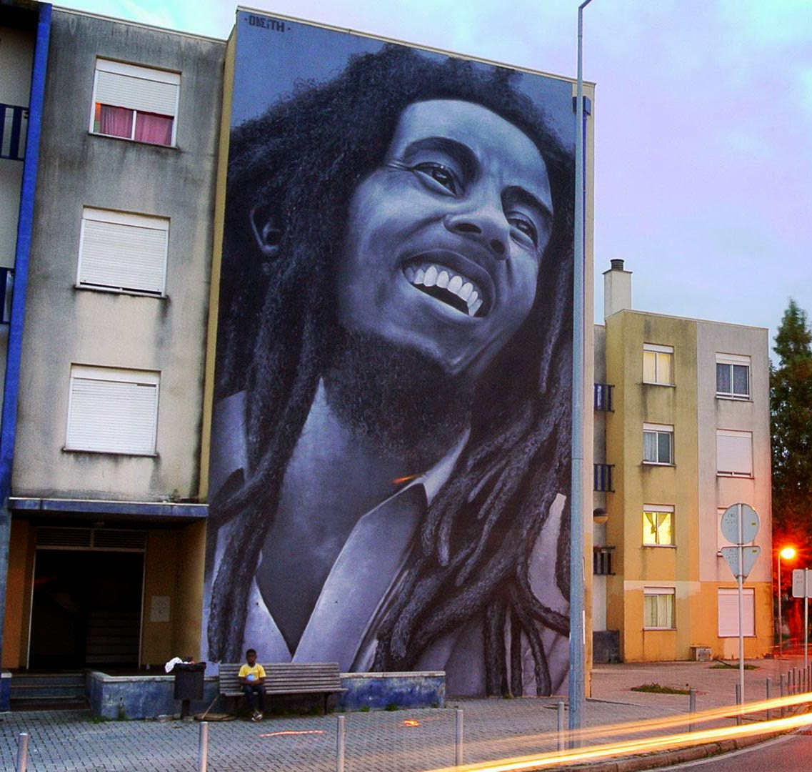 Odeith paints a giant tribute to Bob Marley in Quinta do Mocho, Portugal
