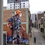 """Fintan Magee paints """"Domestic Bliss"""", his new mural in Sydney, Australia"""