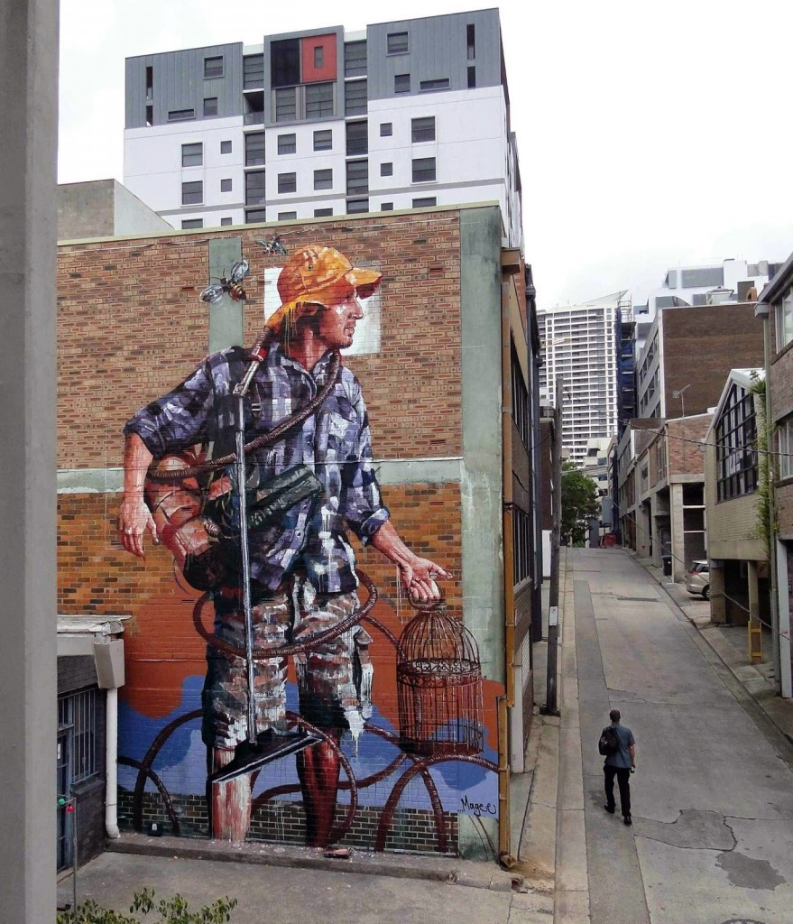 "Fintan Magee paints ""Domestic Bliss"", his new mural in Sydney, Australia"