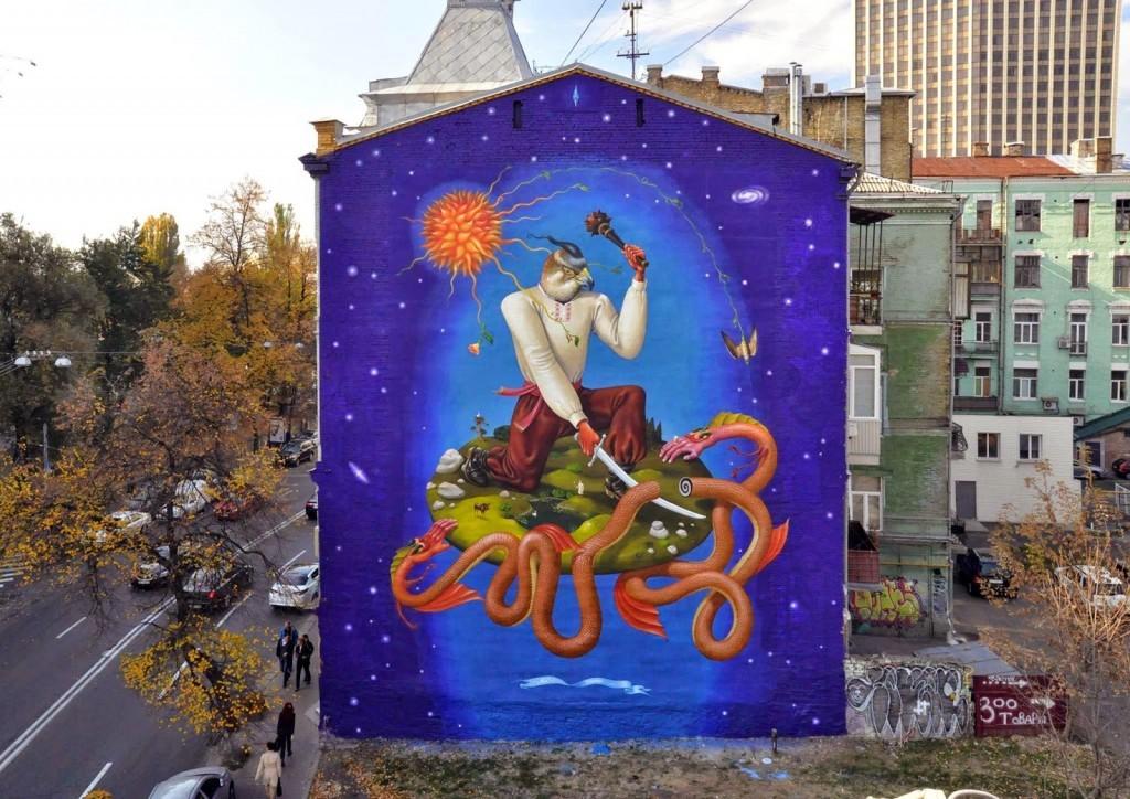 AEC from Interesni Kazki paints a new mural in Kiev, Ukraine