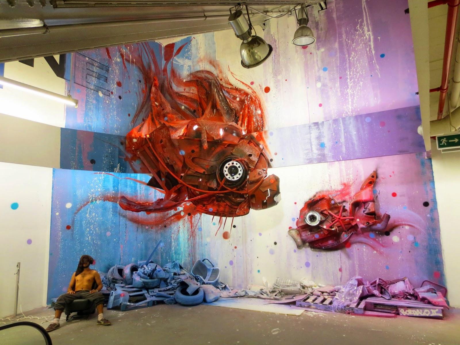 """Bordalo II unveils """"Dirty Aquarium"""", a new installation in Lisbon, Portugal"""