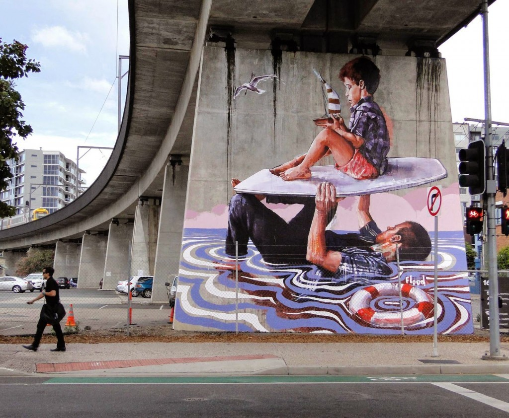 "Fintan Magee paints ""Flood"" for the Pillars Project in Brisbane, Australia"