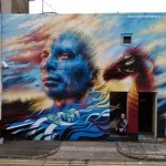 Dale Grimshaw paints a new piece for Empty Walls in Cardiff, Wales
