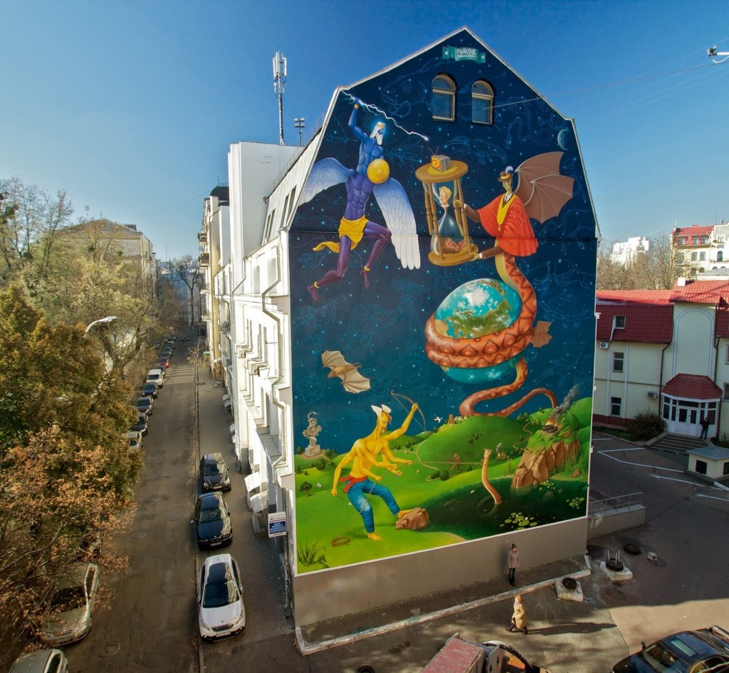 "Waone from Interesni Kazki creates ""Time For Change"", a new mural in Kiev, Ukraine"