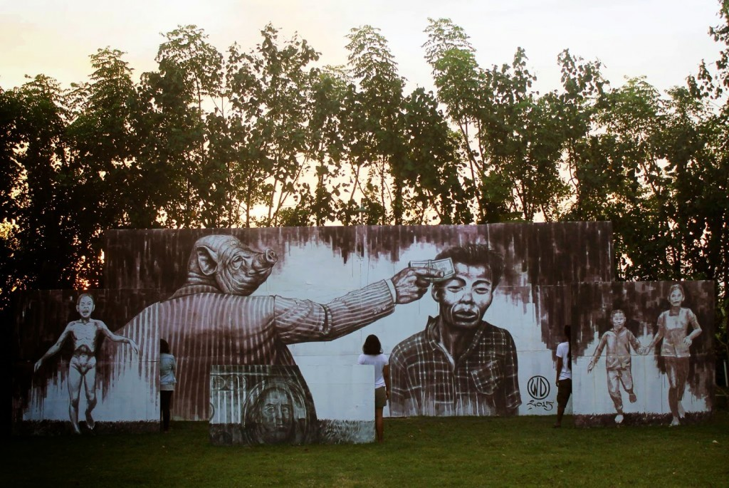 "WD paints ""Money Kills"", a new mural in Bali, Indonesia"