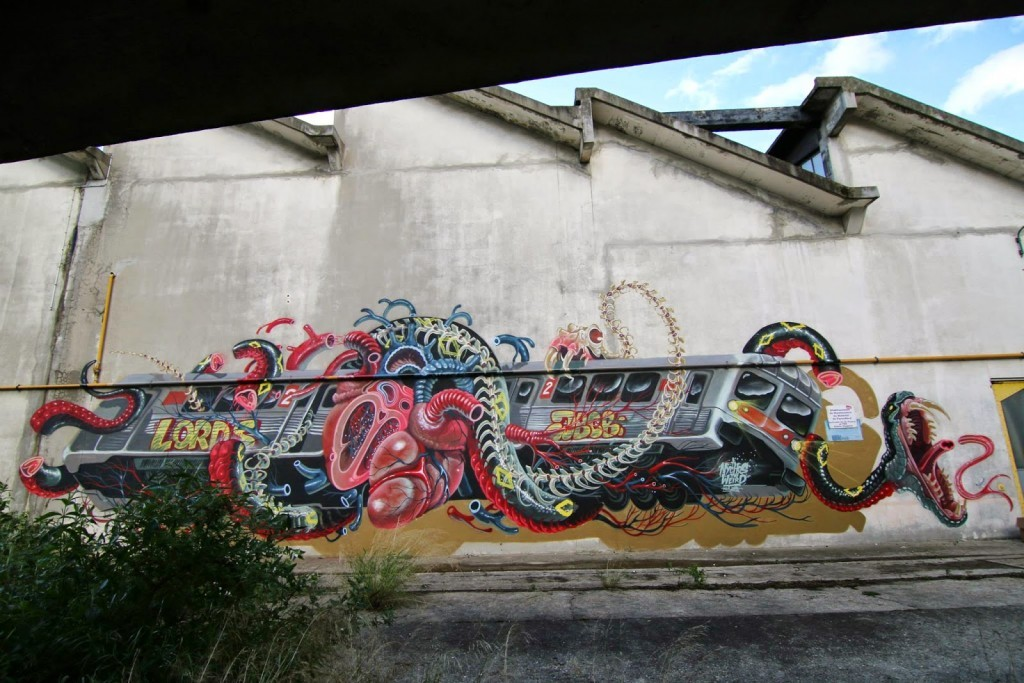 """Train Attack"" a new street piece by Nychos in Paris, France"