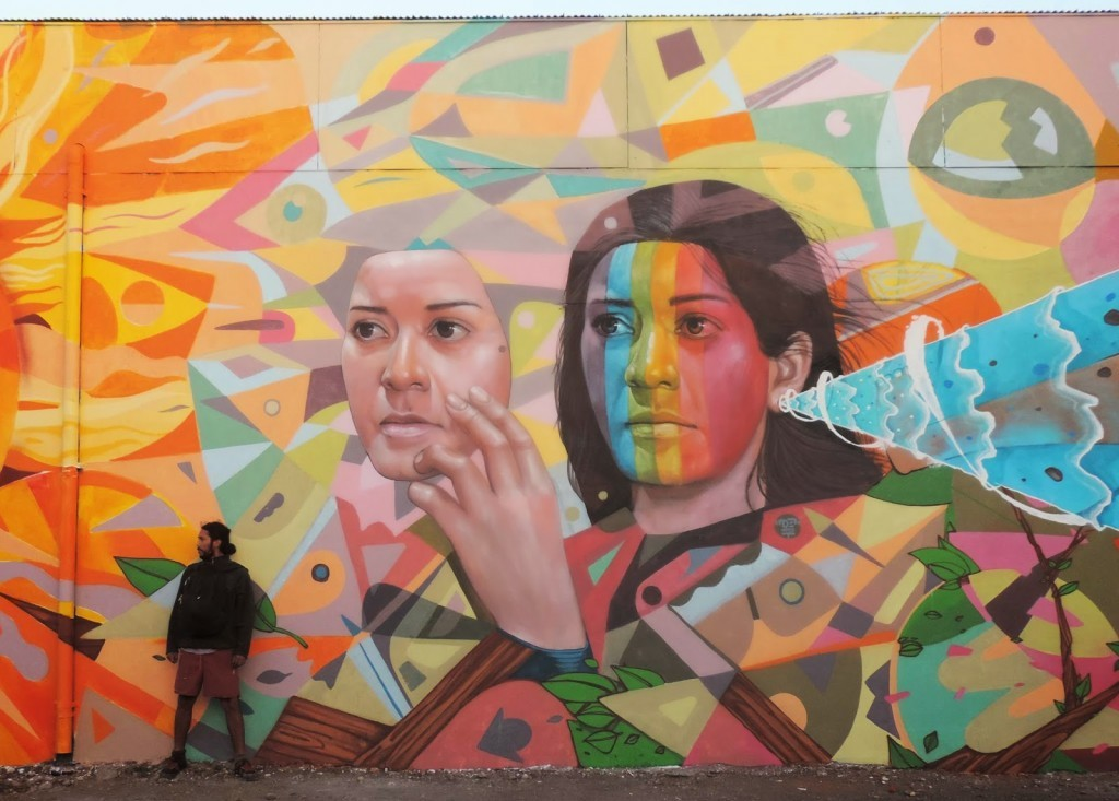 Decertor paints a new mural in Temuco, Chile