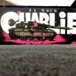 """Gris1 DMV paints """"Je Suis Charlie"""", a tribute mural in Paris, France"""