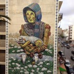 Pixel Pancho paints a new mural in Rabat, Morocco