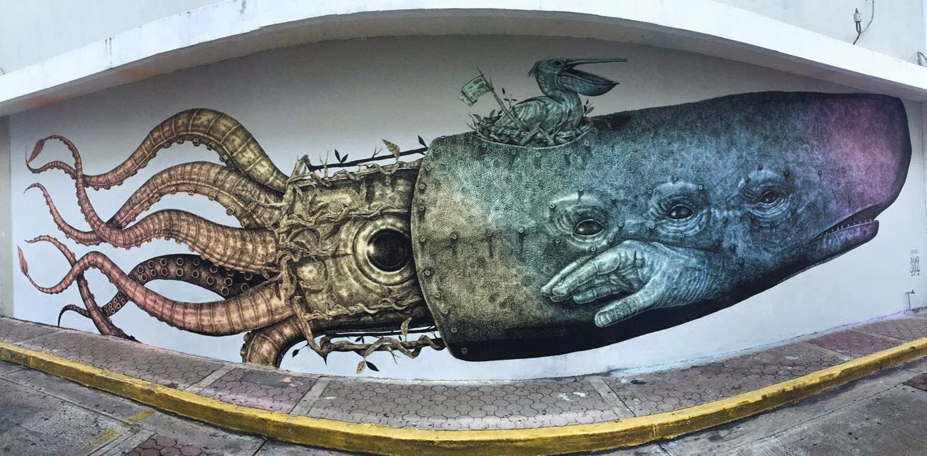Alexis Diaz creates a new mural in Bayamon, Puerto Rico for Los Muros Hablan '15