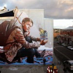 "Fintan Magee paints ""The Refugee"", a brand new mural in Melbourne, Australia"