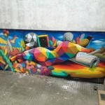 Okuda paints a series of new pieces in Berlin, Germany