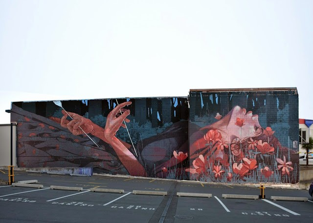 """When The Hunter Becomes The Hunted"" a new mural by Bezt from Etam Cru in Dunedin, New Zealand"