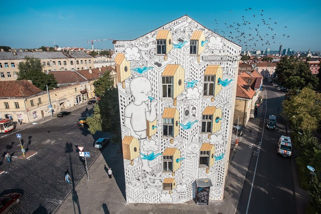 Millo unveils a new mural in Vilnius, Lithuania