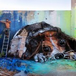 """""""Trash Puppy"""" a new street installation by Bordalo II in Lisbon, Portugal"""