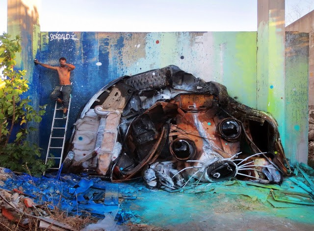 """Trash Puppy"" a new street installation by Bordalo II in Lisbon, Portugal"