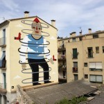 Agostino Iacurci creates a new mural in Girona, Spain