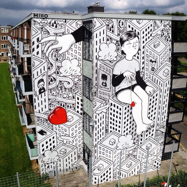 A new mural by Millo in Heerlen, Netherlands
