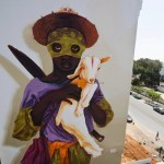 "INTI paints ""Exodus"", his latest mural in Rabat, Morocco"
