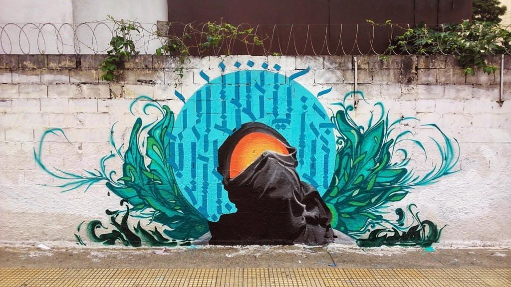 William Mophos paints a new piece in São Bernardo Do Campo, Brazil