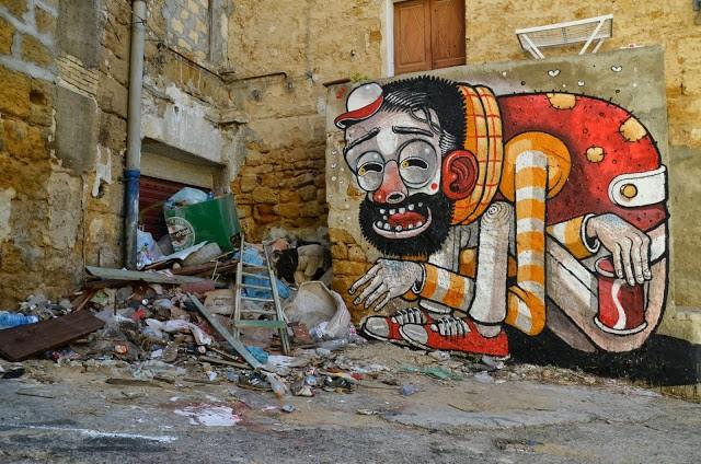 "Mr Thoms ""Trash Only Salvation"" New Street Art In Vallicaldi, Sicily"