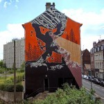 M-City paints a large-scale mural in Lille, France