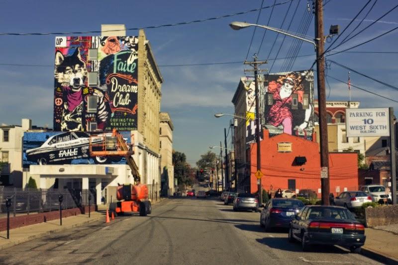 Faile paint a new mural for BLDG on the streets of Covington, Kentucky