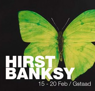 """""""Hirst Vs Banksy"""" Exhibition 15th February Gstaad Switzerland"""