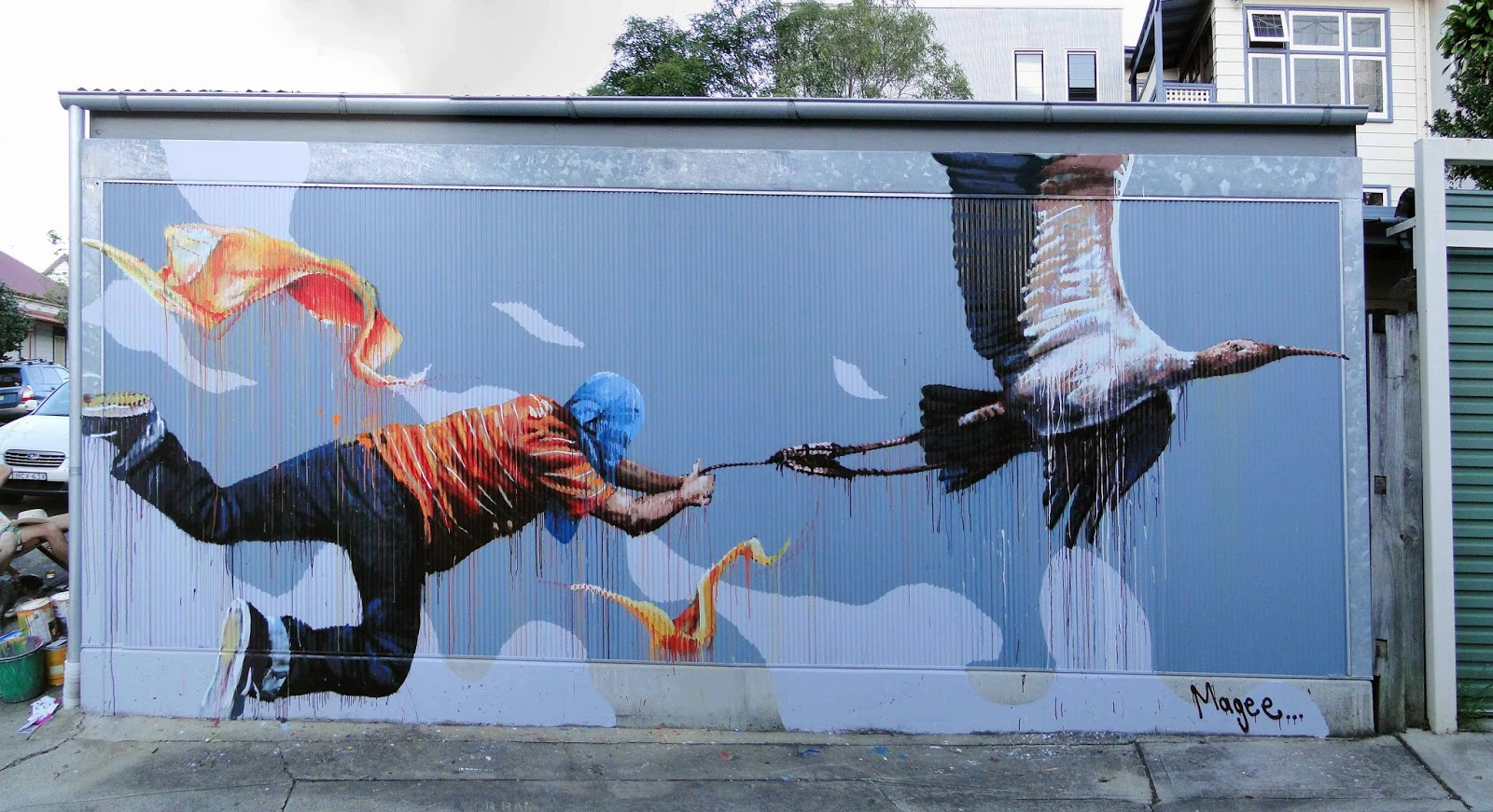 "Fintan Magee ""Discovering Flight"" New Mural - Leichardt, Sydney"