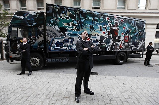 "Banksy ""Laugh Now But One Day We'll Be In Charge, Turbo Zone Truck"" Up For Sale In London"
