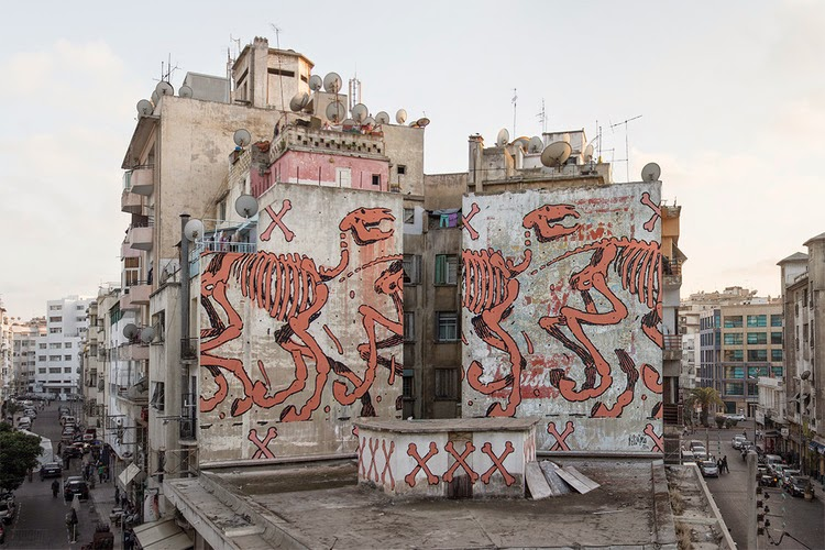 Aryz paints a new mural in Casablanca, Morocco