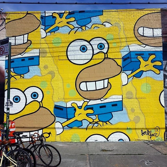 """HomerBob"" a new piece by Jerkface in Bushwick, New York City"