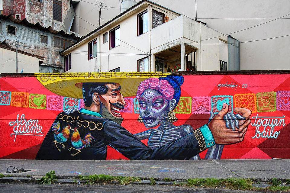 Apitatan paints its newest mural for the Constructo Festival in Mexico DF
