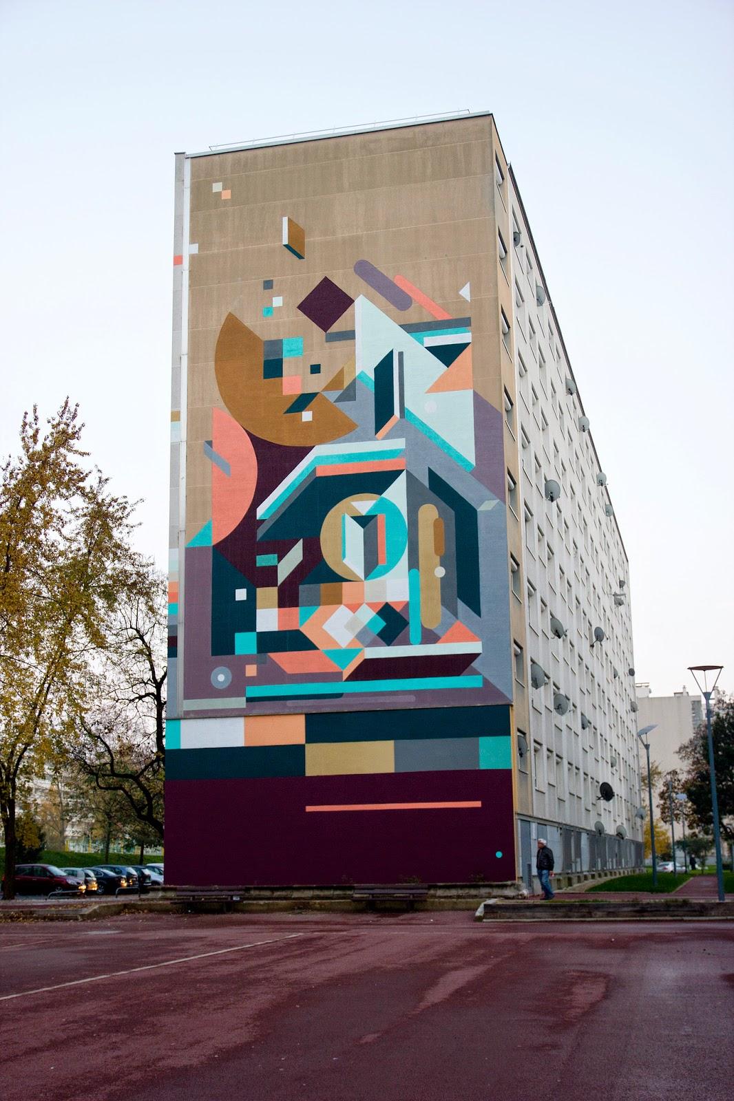 nelio paints a large abstract piece in venissieux france streetartnews streetartnews. Black Bedroom Furniture Sets. Home Design Ideas