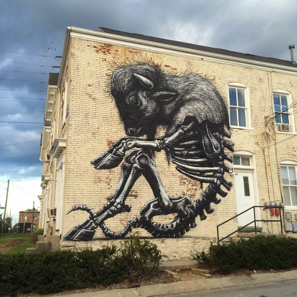 ROA creates a new mural for PRHBTN in Lexington, Kentucky