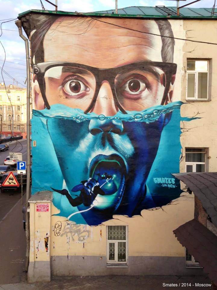 Smates creates a new piece on the streets of Moscow in Russia