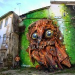 "Bordalo II creates ""Owl Eyes"", a new street installation in Covilhã, Portugal"