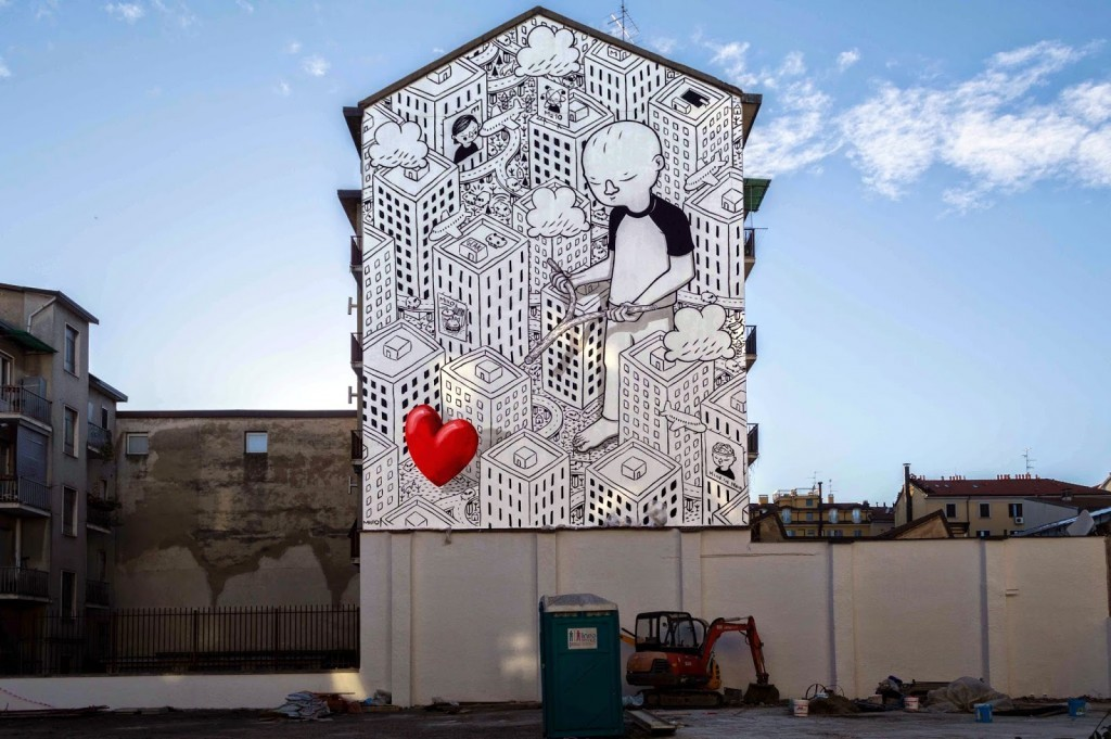 Millo creates a brand new mural in Milan, Italy