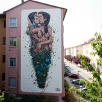 """The Last Kiss"", a piece by Pixel Pancho in Ravenna, Italy"